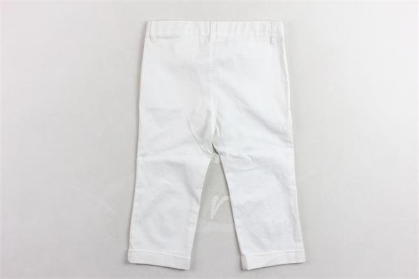 pantalone con girovita regolabile tinta unita con profili in contrasto LE BEBE' | Pantaloni | LBB0158BIANCO