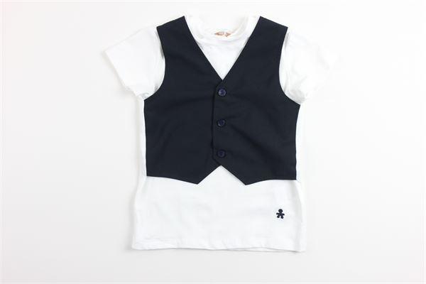 t-shirt mezza manica tinta unita finto panciotto LE BEBE'   T-shirts   LBB1935BIANCO