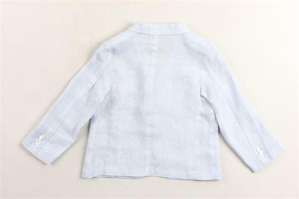 giacca in lino tinta unita con taschini LE BEBE' | Giacche | LBB2029CELESTE