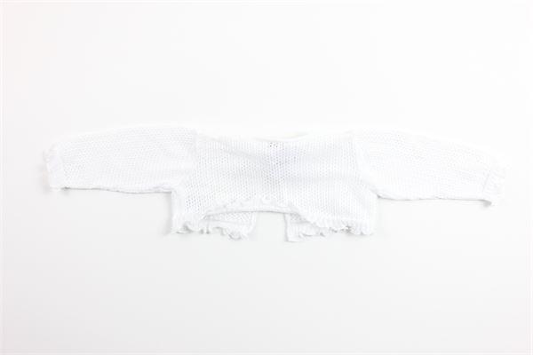 coprispalle tinta unita con rouches e ricami 100%cotone LE BEBE' | Coprispalle | LBG2232BIANCO