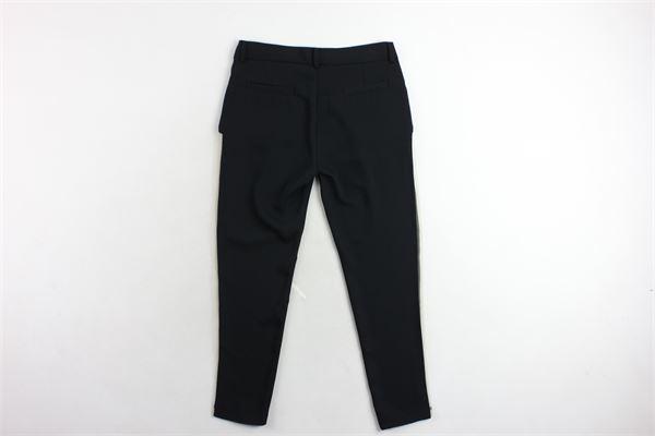 pantalone elegante tinta unita tasca america con tulle laterale LE GEMELLINE BY FELEPPA | Panataloni | FG0012NERO