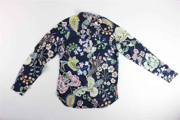 camicia manica lunga tinta unita con stampa fantasia LIBERTY | Camicie | 034BLU