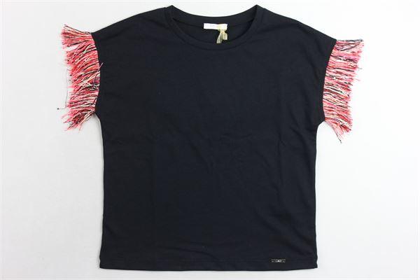 t-shirt tinta unita con frange LIU JO | T-shirts | DA0096J0166NERO