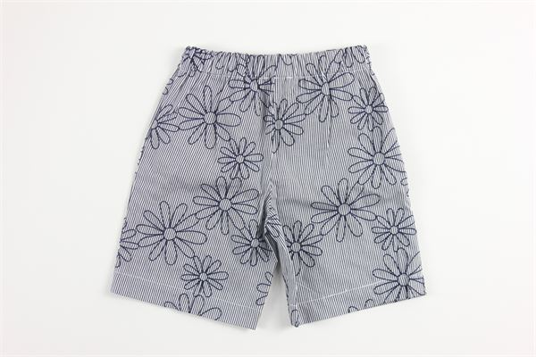 short elastico in vita fantasia a righe e stampa fiori LIU JO | Shorts | H1907BLU