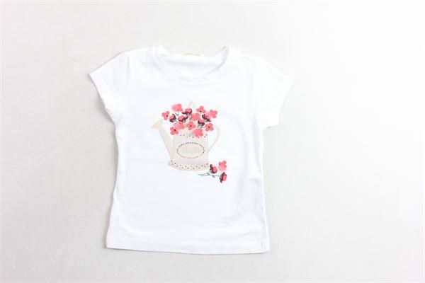 t-shirt mezza manica tinta unita con stampa  applicazioni e brillantini LIU JO | T-shirts | KA0100BIANCO