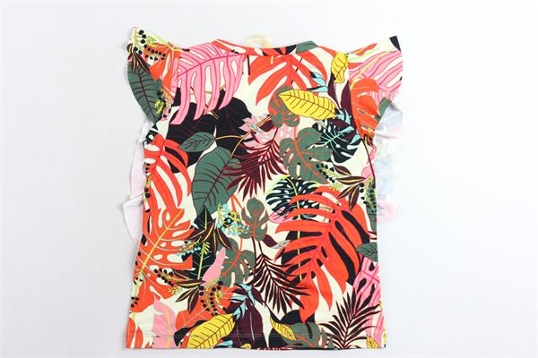 t-shirt giromanica con rouche stampa fantasia LIU JO | T-shirts | KA0119J5360MULTICOLOR