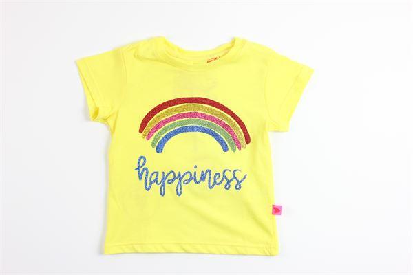 t-shirt mezza manica tinta unita con stampa arcobaleno e glitter LOVE THERAPY | T-shirts | LT00026GIALLO