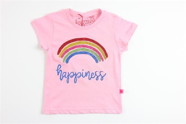 t-shirt mezza manica tinta unita con stampa arcobaleno e glitter LOVE THERAPY | T-shirts | LT00026ROSA