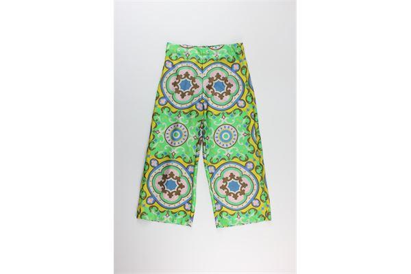 pantalone stampa fantasia a palazzo MALIPARMI | Pantaloni | S0/JH7200VERDE