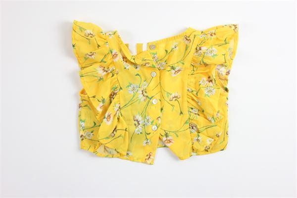top tinta unita con stampa fiori e rouches MANILA GRACE | Top | MGB288GIALLO