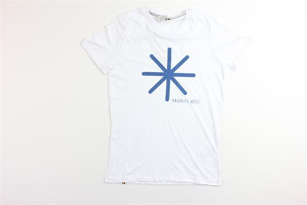 t-shirt tinta unita mezza manica con stampa MANUEL RITZ | T-shirts | MR0242BIANCO