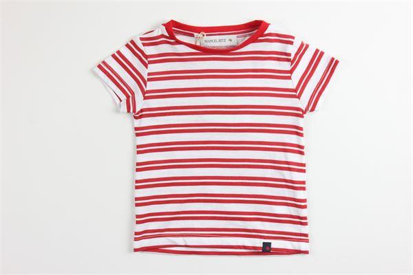 t-shirt tinta unita fantasia a righe 100%cotone MANUEL RITZ | T-shirts | MR1016BIANCO/ROSSO