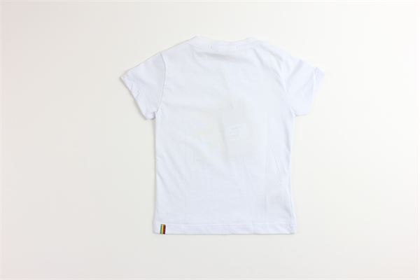 t-shirt tinta unita con stampa MANUEL RITZ | T-shirts | MR1018BIANCO/GIALLO