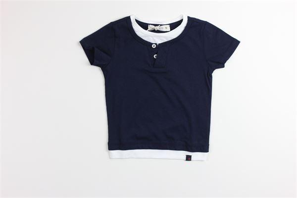 t-shirt tinta unita con profili in contrasto MANUEL RITZ | T-shirts | MR1052BLU