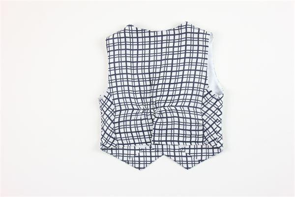 panciotto fantasia a quadri 100%lino MANUELL & FRANK | Panciotti | M3153BIANCO/BLU