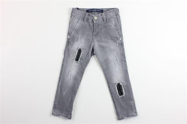 jeans 5 tasche tinta unita con strappi girovita regolabile MANUELL & FRANK | Jeans | MF1016BGRIGIO