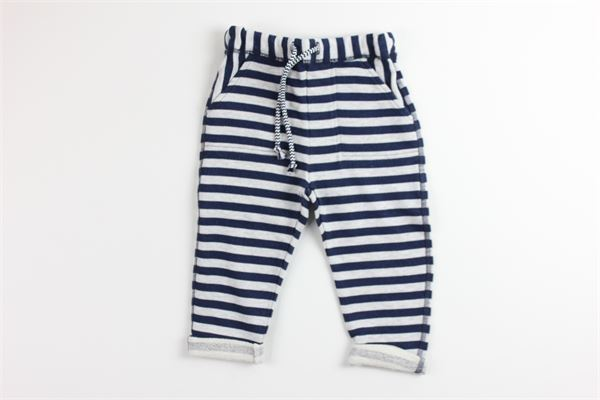 pantalone fantasia a righe elastico in vita MAPERO | Pantaloni | M21263BLU