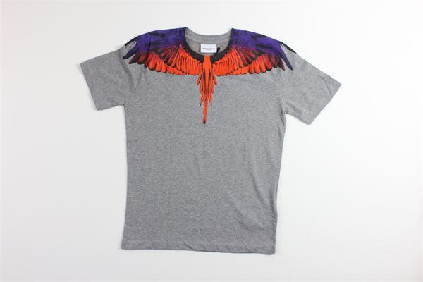 t-shirt tinta unita con stampa MARCELO BURLON | T-shirts | 1107GRIGIO