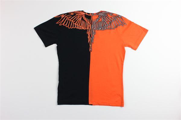 t-shirt bicolore con stampa MARCELO BURLON | T-shirts | 1120ARANCIO/NERO