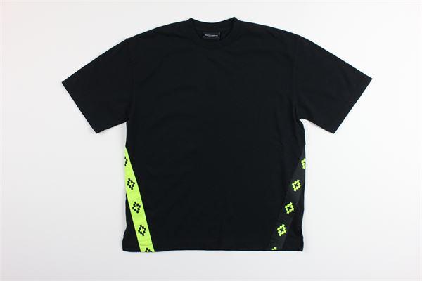 t-shirt mezza manica tinta unta con profili in contrasto MARCELO BURLON | T-shirts | MB111NERO