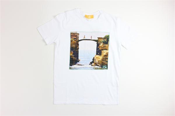 t-shirt mezza manica tinta unita con stampa MARTIN ZELO | T-shirts | 002BIANCO