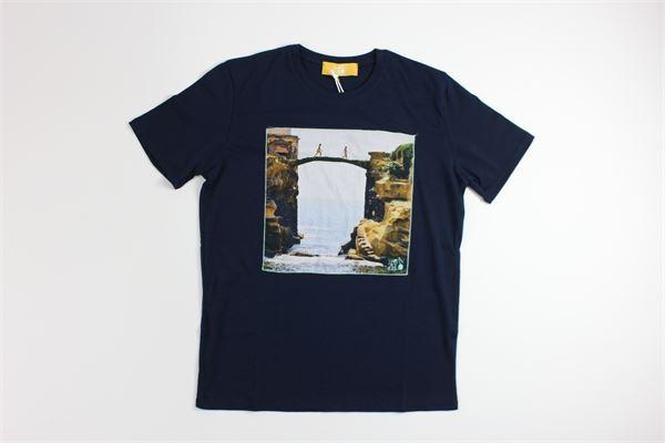 t-shirt mezza manica tinta unita con stampa MARTIN ZELO | T-shirts | 601BLU