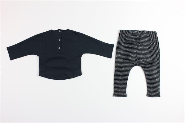 shirt tinta unita con stampa e pantalone fantasia a righe MASSAGE IN THE BOTTLE | Completi | ROBINSONBLU