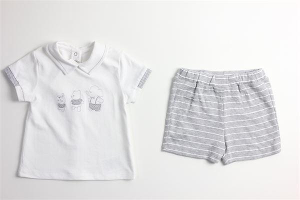 t-shirt mezza manica tinta unita con ricami e bermuda tinta unita fantasia a righe MAYORAL | Completi | 1666BIANCO/GRIGIO