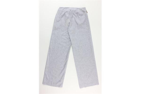pantalone tinta unita a palazzo con cintura fantasia a righe MICHAEL KORS | Pantaloni | MFO3B9U8GRIGIO