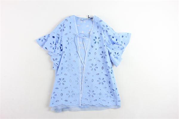 giacca lunga mezza manica tinta unita con trafori MIMISOL | Giacche | MFGC002TS0201AZZURRO