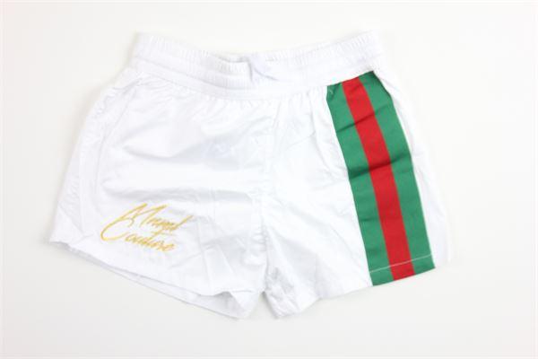 boxer tinta unita con stampa MINIMAL | Costumi | B0625BIANCO