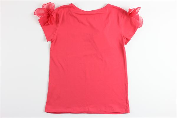 t-shirt tinta unita con stampa e brillantini MISS BLUMARINE | T-shirts | MBL1519CORALLO