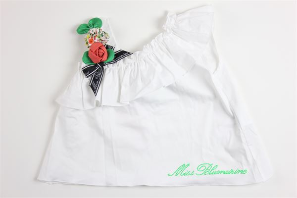 top tinta unita con rouches e applicazioni MISS BLUMARINE | Top | MBL2627BIANCO