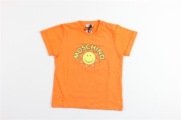 t-shirt tinta unita con stampa MOSCHINO | T-shirts | MUM01ZARANCIO