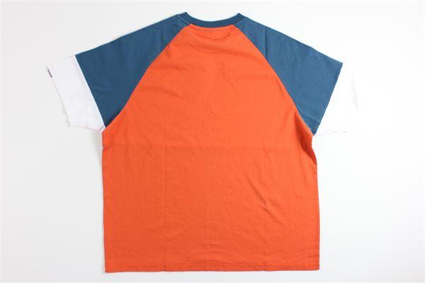 t-shirt mezza manica tricolore con stampa NAPAPIJRI | T-shirts | NP0A4EBHA311GRIGIO/ARANCIO