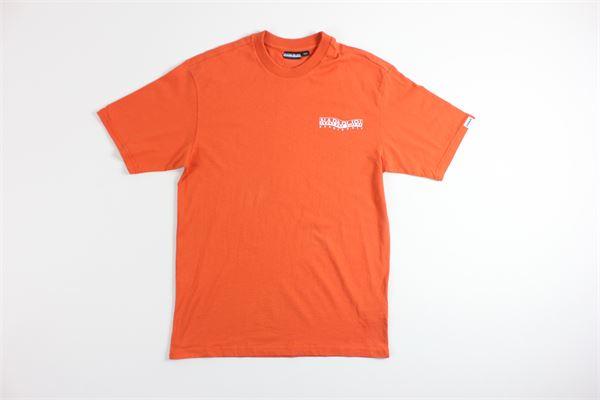 t-shirt mezza manica tricolore con stampa NAPAPIJRI | T-shirts | NP0A4EBJA311ARANCIO