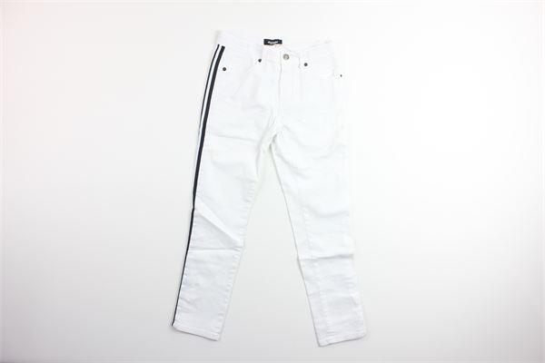 jeand tinta unita in denim con girovita regolabile NUMBERS | Jeans | NB004BIANCO