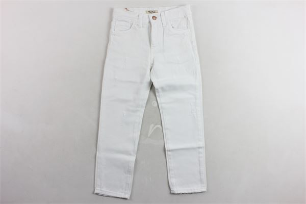 jeans 5 tasche tinta unita con strappi girovita regolabile NUPKEET | Jeans | 01NK527BIANCO