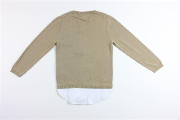 maglia tinta unita finta camicia 100%cotone PAOLO PECORA | Maglie | PP1661BEIGE