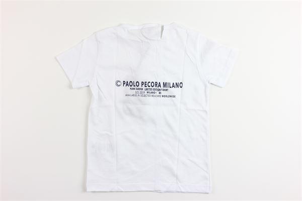 t-shirt tinta unita con stampa PAOLO PECORA | T-shirts | PP1731BIANCO