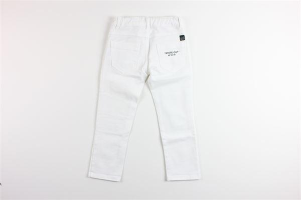 jeans tinta unita con strappi 5 tasche girovita regolabile PAOLO PECORA | Jeans | PP1990BIANCO