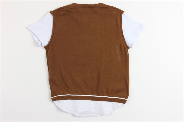maglia mezza manica con finto gilet bicolore PAOLO PECORA | Maglie | PP2104MARRONE