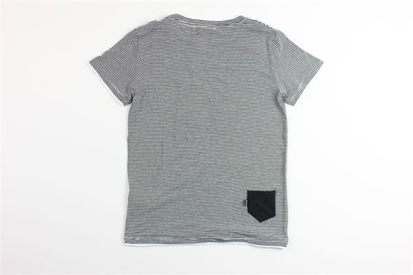t-shirt mezza manica tinta unita con stampa a righe PAOLO PECORA | T-shirts | PP2256NERO/BIANCO