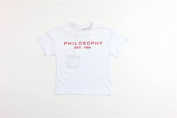 t-shirt mezza manica tinta unita con stampa PHILOSOPHY | T-shirts | PJTS299BIANCO