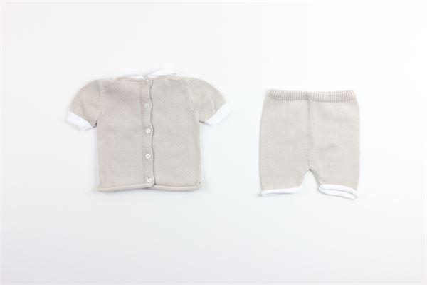 t-shirt mezza manica con ricami e bermuda tinta unita 100%cotone PICCOLA GIUGGIOLA | Completi | TARZAN2BEIGE