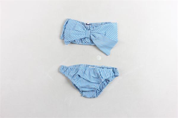 bikini tinta unita stampa a quadri e fiocco PICCOLA LUDO | Costumi | BF4WB061CELESTE