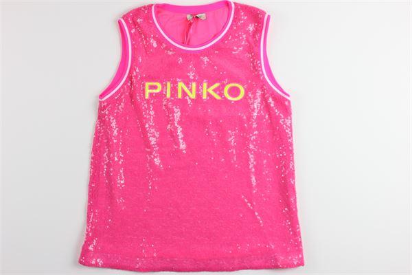 canotta tinta unta con paillettes e stampa PINKO | Canotte | 024584FUXIA