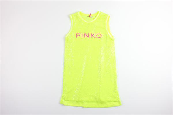 abito giromanica tinta unita con paillettes con stampa logo PINKO | Abiti | 024589GIALLO FLUO