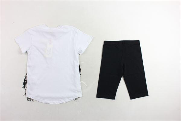t-shirt mezza manica tinta unita con stampa applicazioni strass e frange e leggins modello ciclista tinta unita PINKO | Completi | 24501BIANCO/NERO