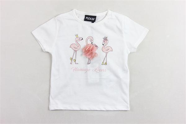 t-shirt mezza manica tinta unita con stampa fenicotteri e applicazione fiore PLEASE | T-shirts | MBF8030G20BIANCO